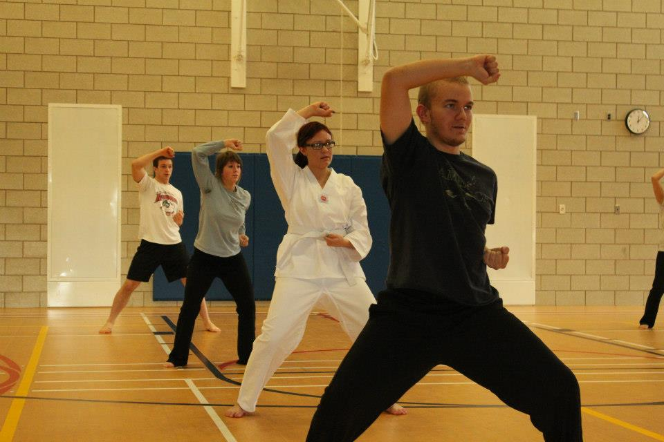Students participate in Peter Wahlstrom's tae kwon do class at the Armory on April 25. Group classes will likely remain at the Armory under the proposal to move the Fitness Center back to campus in fall 2015. Photo by Adam Holte.