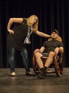 Melanie Bratsch and Jarrod Dukowitz  rehearsing a scene on March 10. PHOTO BY LAUREN KASTNER