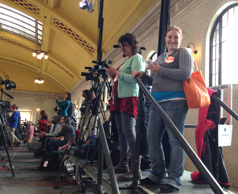 ARCC student Mara Meyer prepares to cover President Barack Obama's Feb. 26 press conference at Union Depot in St. Paul. COURTESY MARA K. MEYER