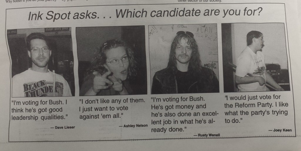 Student views on the 2000 election. From InkSpot Vol. 3 No. 1, Feb. 2009