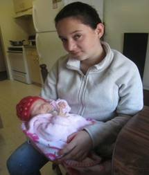 Delia Pinto and her baby daughter Ashley Riveria y Pinto, in their apartment