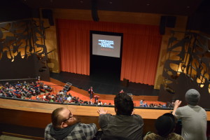PHOTO BY C. FISKEWOLD    Opening night ceremony view from the upper level of the theater in the Ames Center.