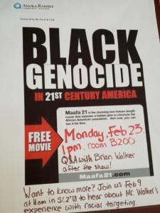 Poster the Pro-life club had up promoting the Black Genocide event