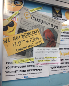 PHOTO BY DANICA MINZEL      The Campus Eye is a product of the newspaper club where you can earn one credit per semester.