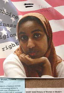 PHOTO BY ELISE NIKOLIC Freedom of religon ad in Humanities department vandalized.