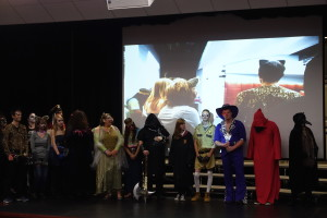 Costume contest participants line up for judging.