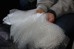 A collection of bubble wrap is ready to go for next week. Photo Credit: Alex Bender
