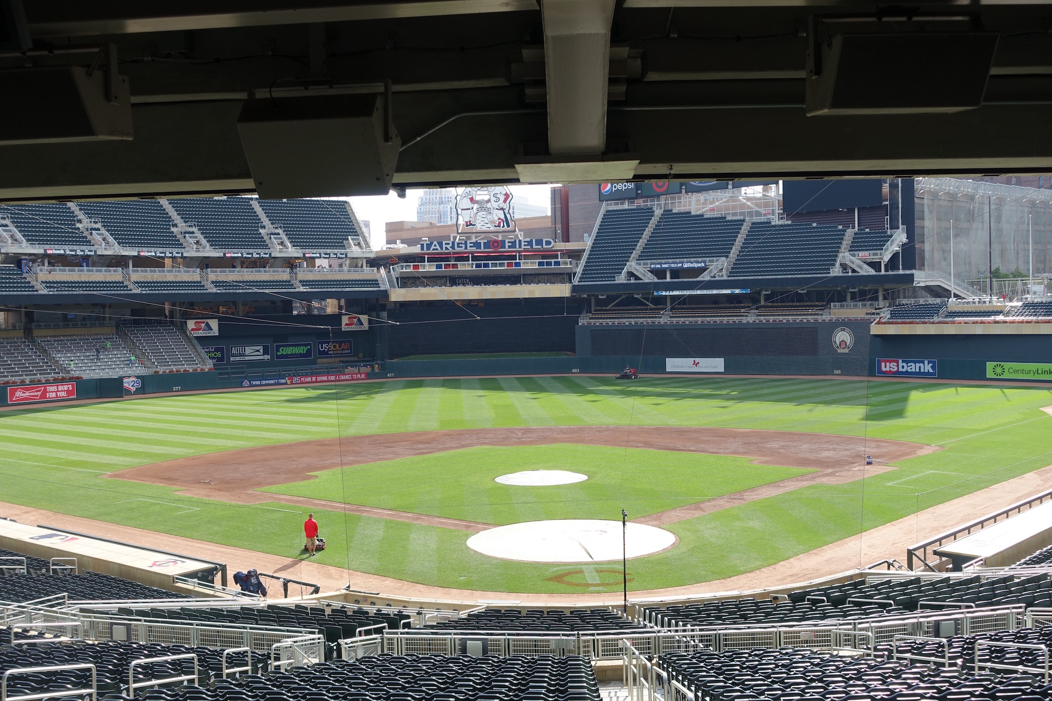 Target Field was mostly quiet while the grounds crew prepped for the game. Photo Credit: Ryan Schaal