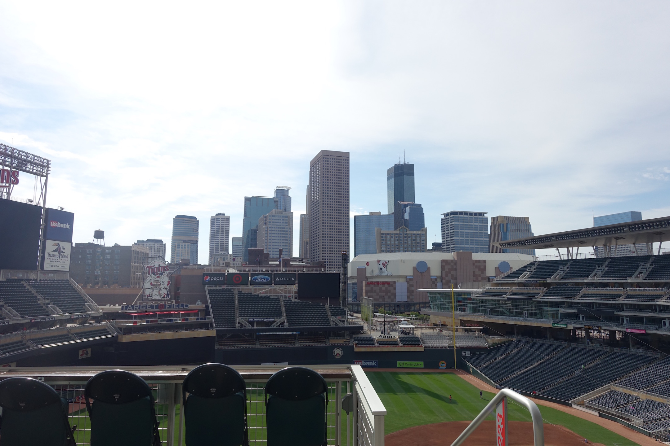 It was a beautiful fall day for the game with the downtown Minneapolis skyline in the background. Photo Credit: Ryan Schaal