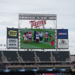 Mascots from several Minnesota State colleges led pre-game activities on the field. Photo Credit: Ryan Schaal