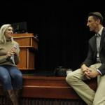 Campus Eye staff writer Kenna Gatzmer interviews Sebesta after his speech. Photo Credit: Andrea Gerrard