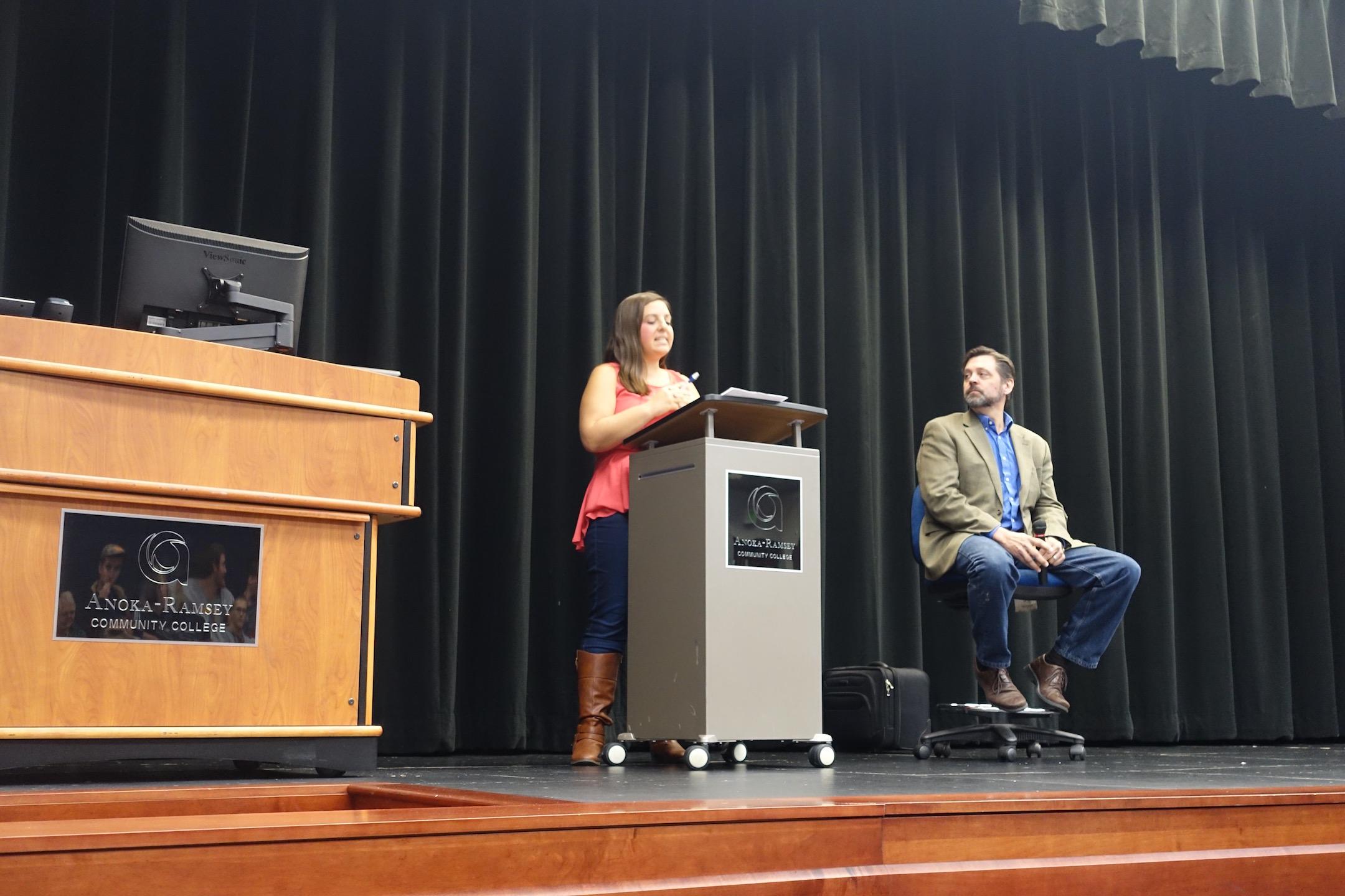English instructor Jennifer Hutchens introduces Eskens. Photo Credit: Maiya Fair