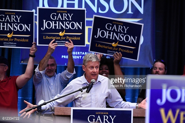 Libertarian nominee Gary Johnson at a Colorado rally