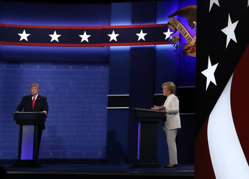 Trump and Clinton at the third presidential debate in Las Vegas