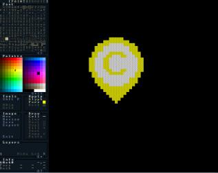 "Josh's ASCII art program, ""Rex Paint"", used to make the Campus Eye Logo. Photo By: Luke Gentle"